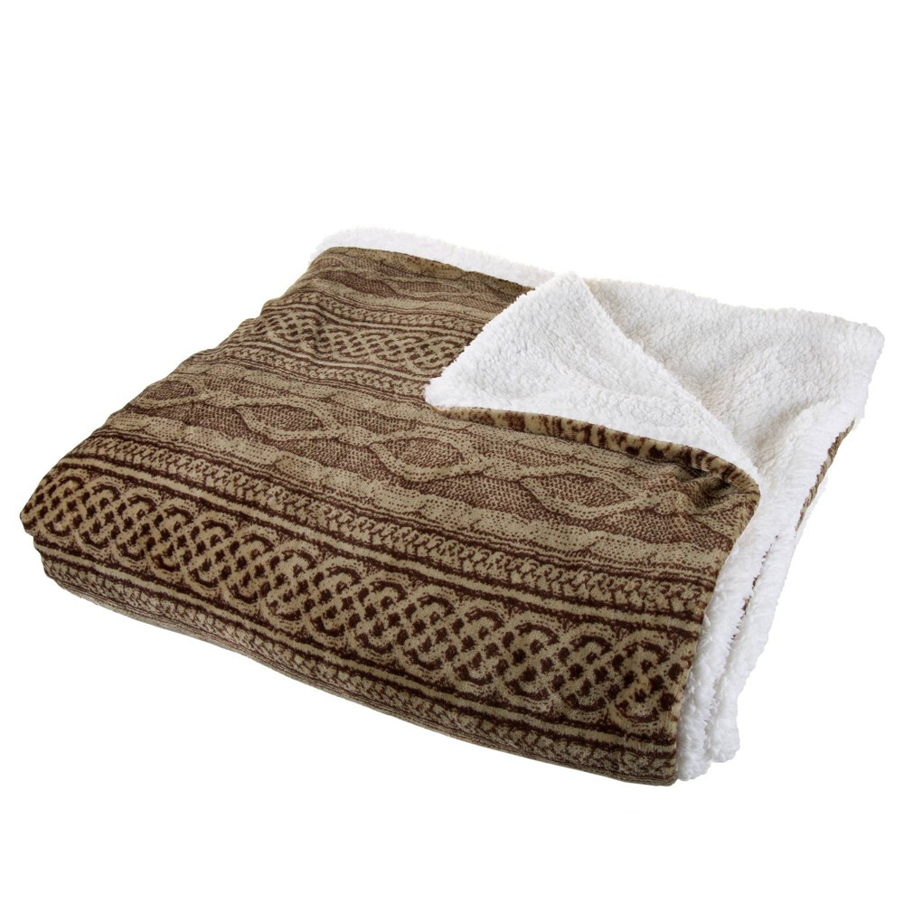 "86""x90"" Flannel/Sherpa Throw Chocolate/Taupe - Hastings Home from Trademark Global"