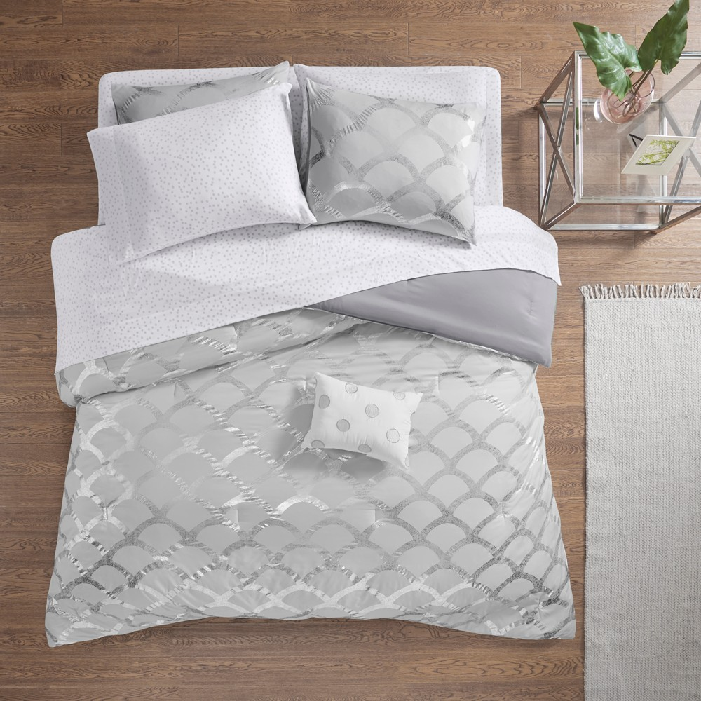 8pc Full Janelle Comforter and Sheet Set Gray from Distributed by Target