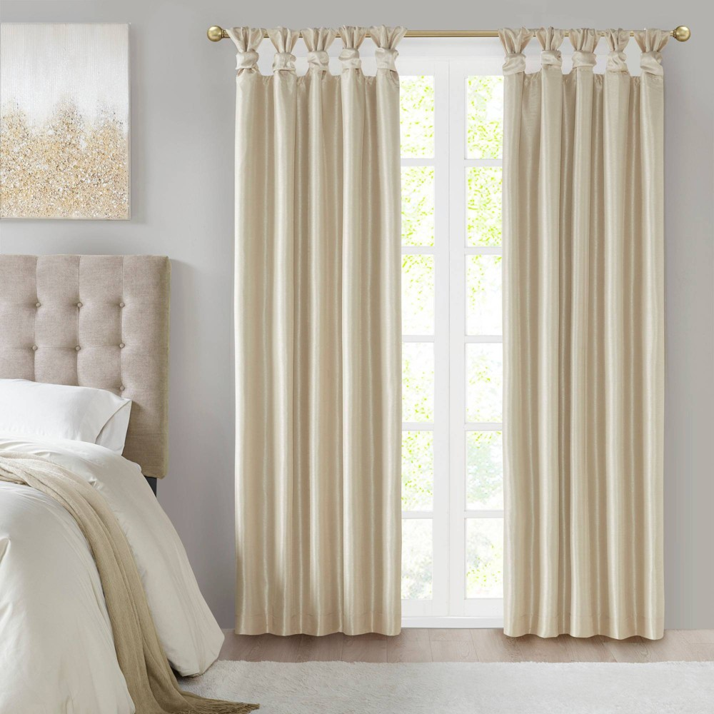 "95""x50"" Lillian Twist Tab Total Blackout Window Curtain Cream"