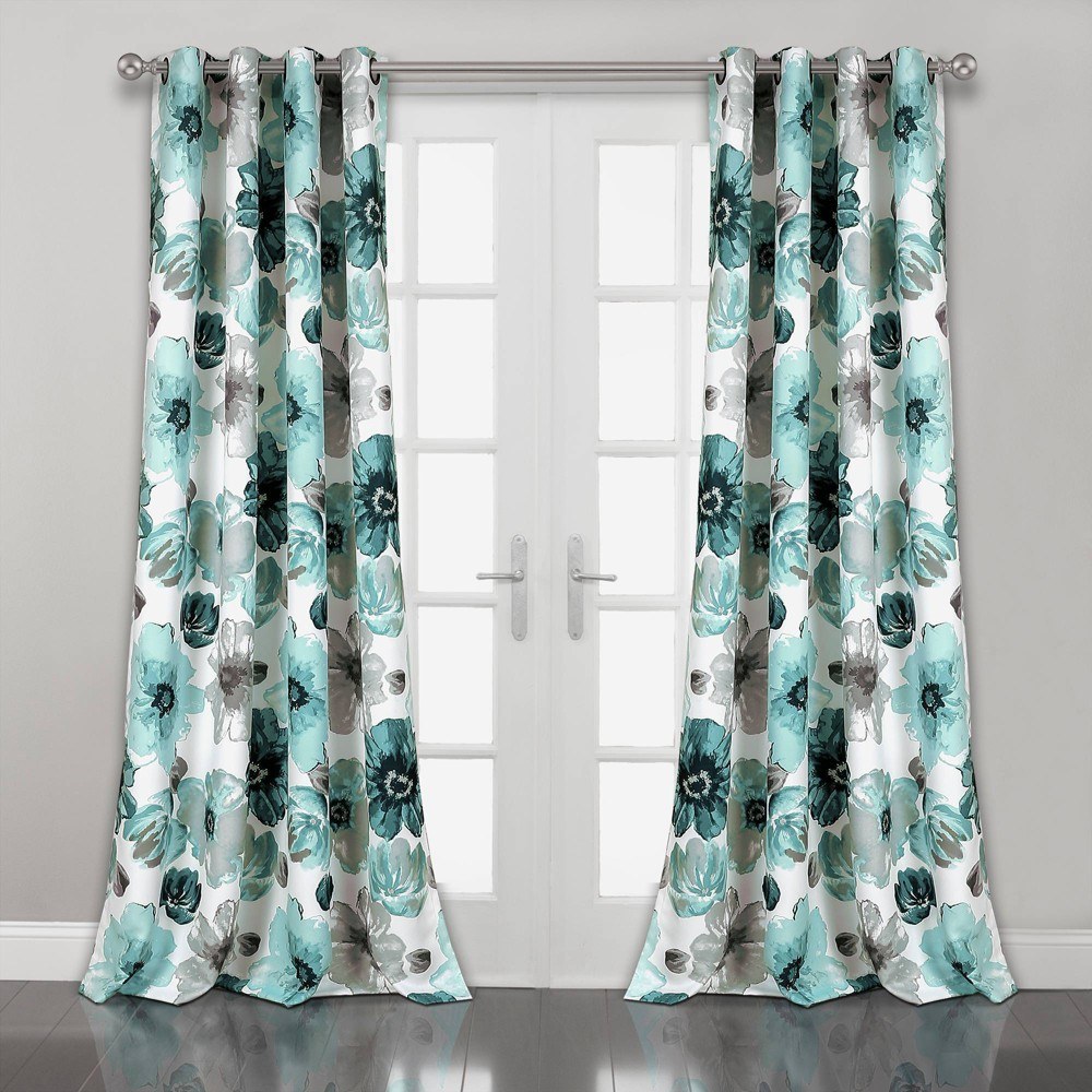"Set of 2 (95""x52"") Leah Grommet Top Room Darkening Curtain Panels Blue - Lush Décor"