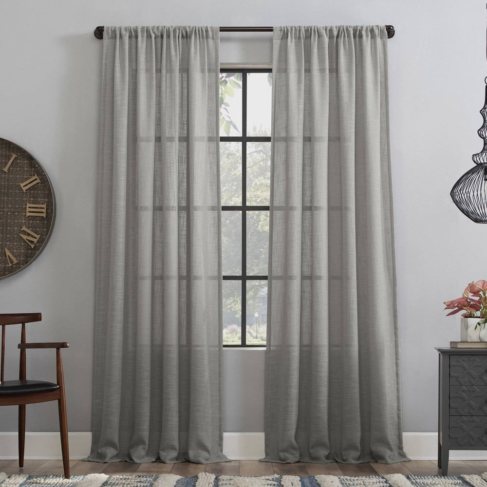 "96""x50"" Basketweave Anti-Dust Semi-Sheer Curtain Panel Gray - Clean Window"