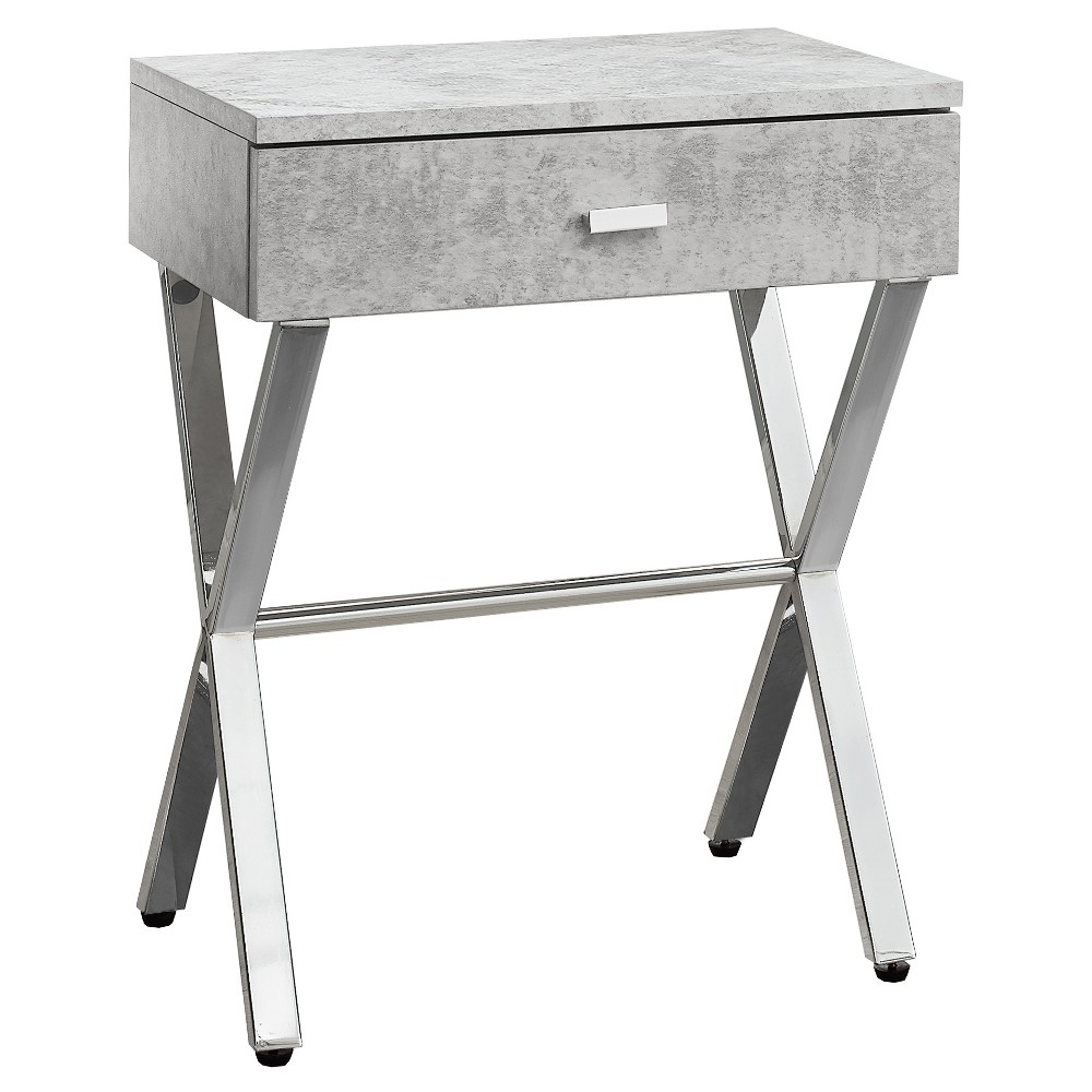 Accent Table, Night Stand - Chrome Metal, Gray Cement - EveryRoom from EveryRoom