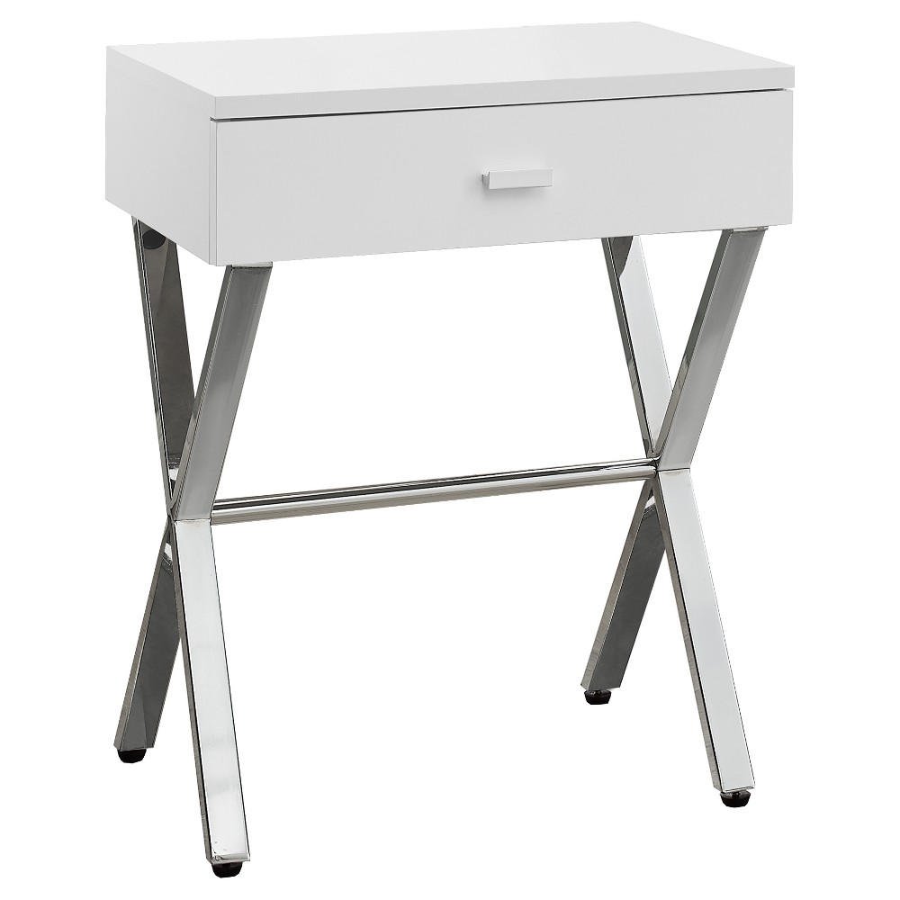 Accent Table, Night Stand - Chrome Metal, Glossy White - EveryRoom from EveryRoom
