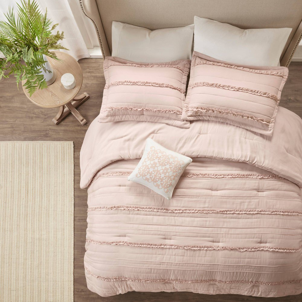 Alexis Ruffle Comforter Set (California King) Pink - 5pc, Adult Unisex