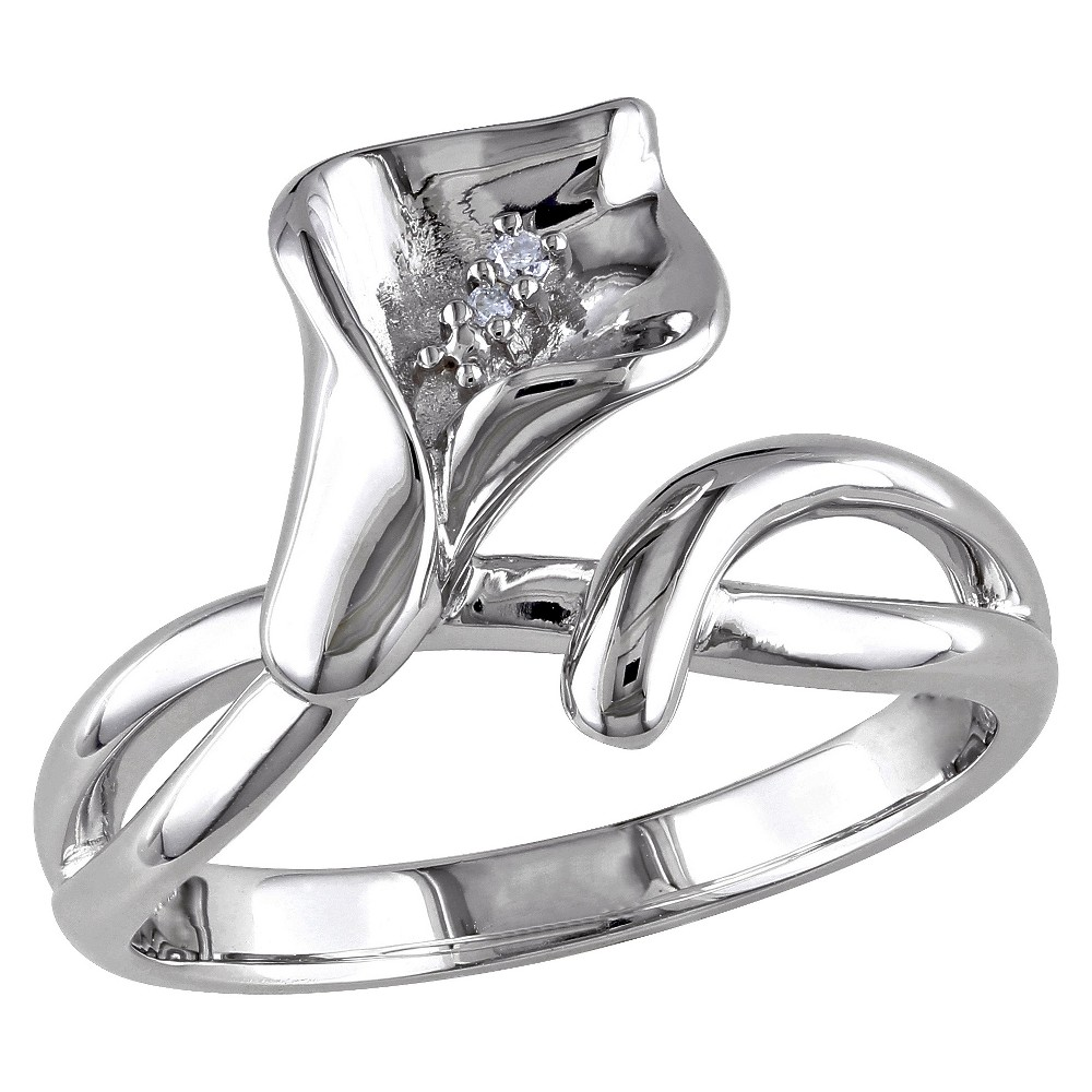 0.011 CT. T.W. Diamond Calla Lily Ring in Sterling Silver - GH I1:I2 5 - White from No Brand