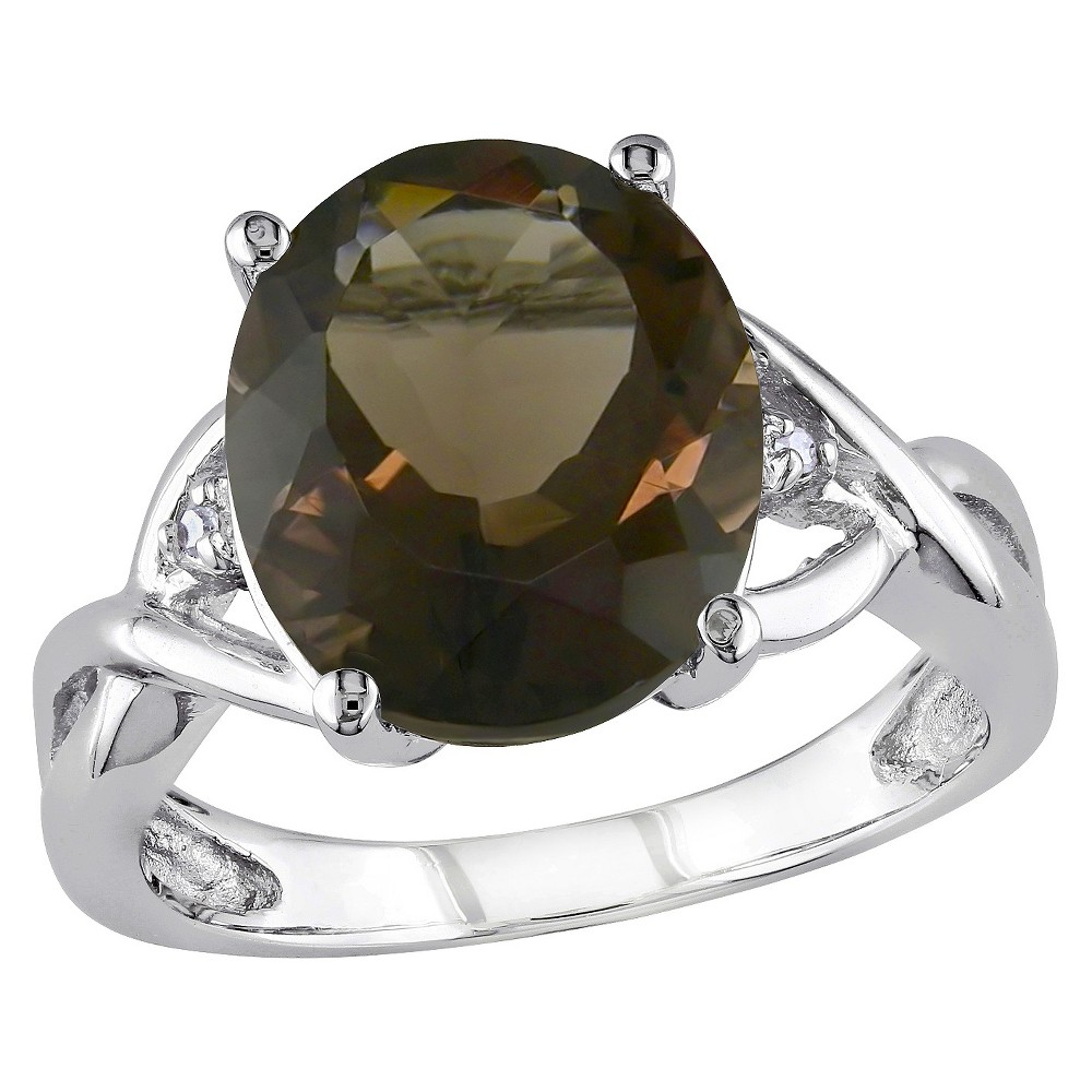 3.75 CT. T.W. Smokey Quartz and .01 CT. T.W. Diamond 3-Prong Setting Ring in Sterling Silver - 6 - Brown from No Brand