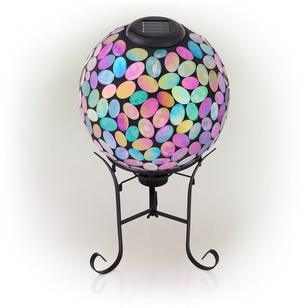 "Alpine 11"" Solar Mosaic Iron/Glass Gazing Globe with Stand Pink from Alpine Corporation"