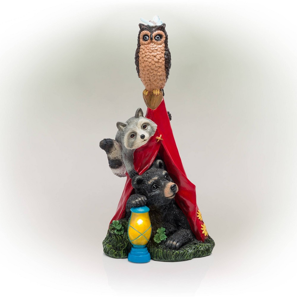 "Alpine 18"" Solar Camping Nature Pals Resin Statue with LED Lights from Alpine Corporation"