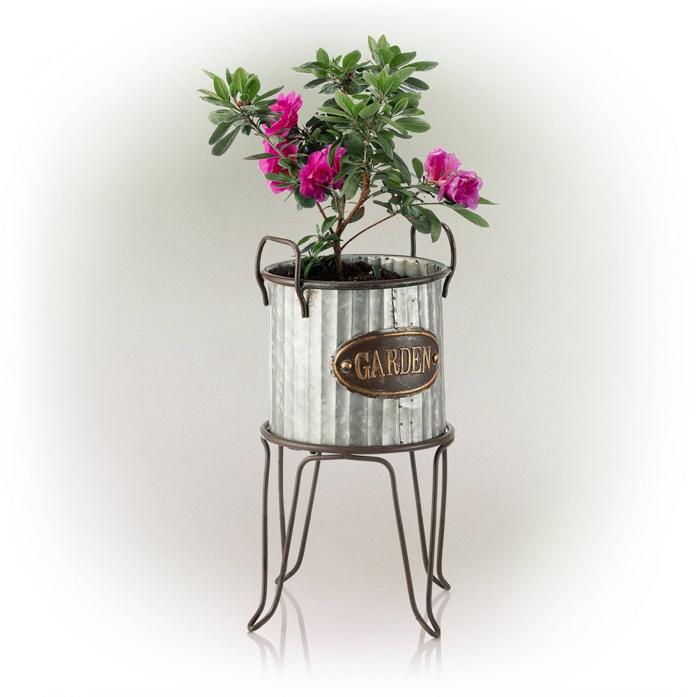 "Alpine 20"" Outdoor Metal Tin Flower Planter with Stand Silver from Alpine Corporation"