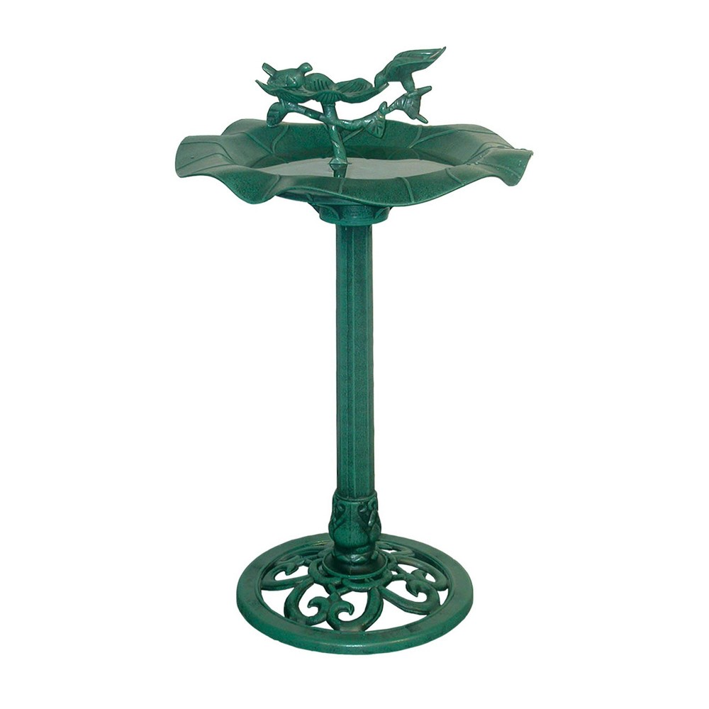 "Alpine Corporation 33"" Lotus Birdbath With Birds - Blue from Alpine Corporation"