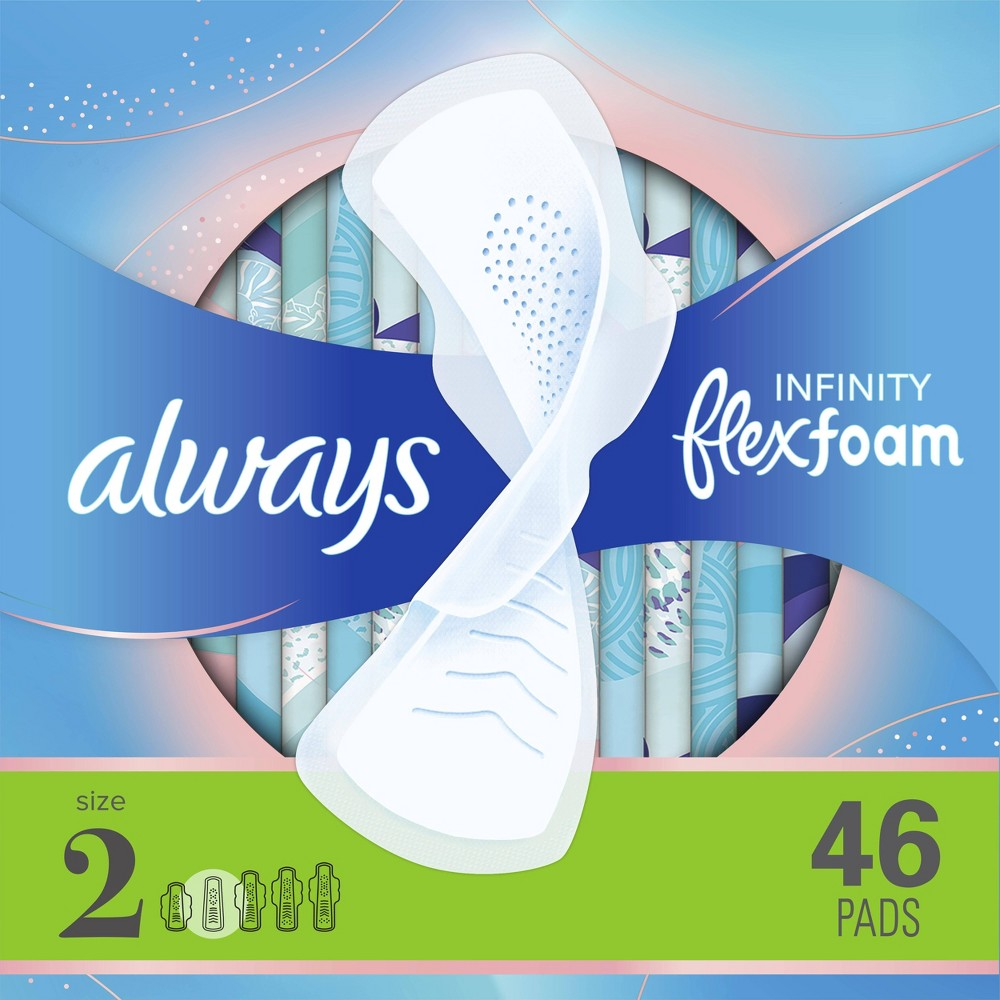 Always Infinity Super Absorbency Avec Flex Foam Pads - Unscented - Size 2 - 46ct from Always