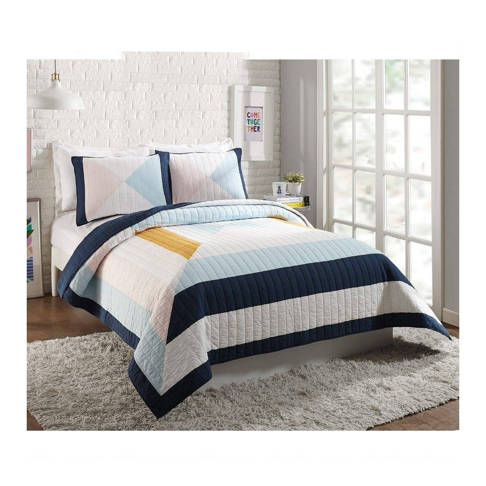 Ampersand for Makers Collective Full/Queen 3pc Diamond Patchwork Quilt & Sham Set Blue from Makers Collective