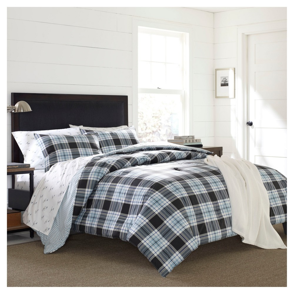 Atlantic Blue Lewis Plaid Duvet Set (King) 3-pc - Eddie Bauer
