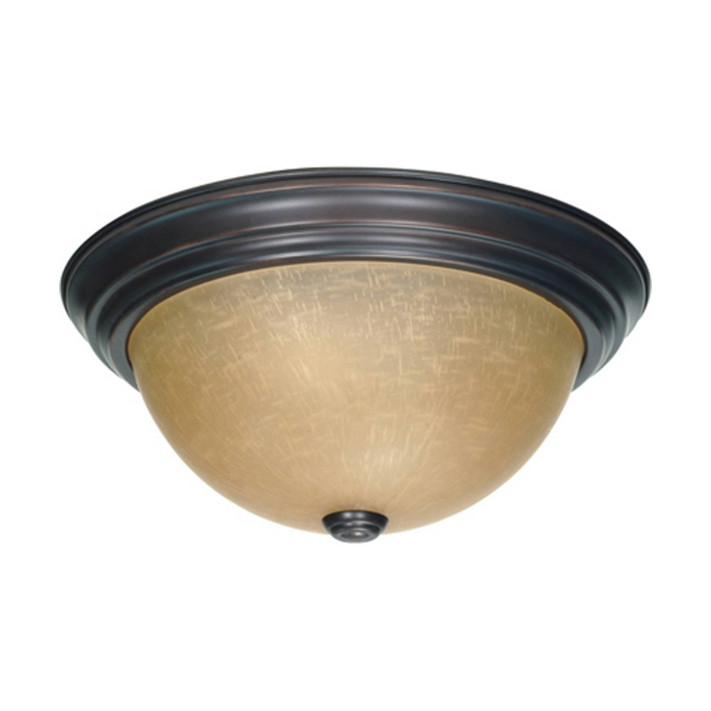 Aurora Lighting 2 Light Mahogany Flush Mount Ceiling Lights Bronze