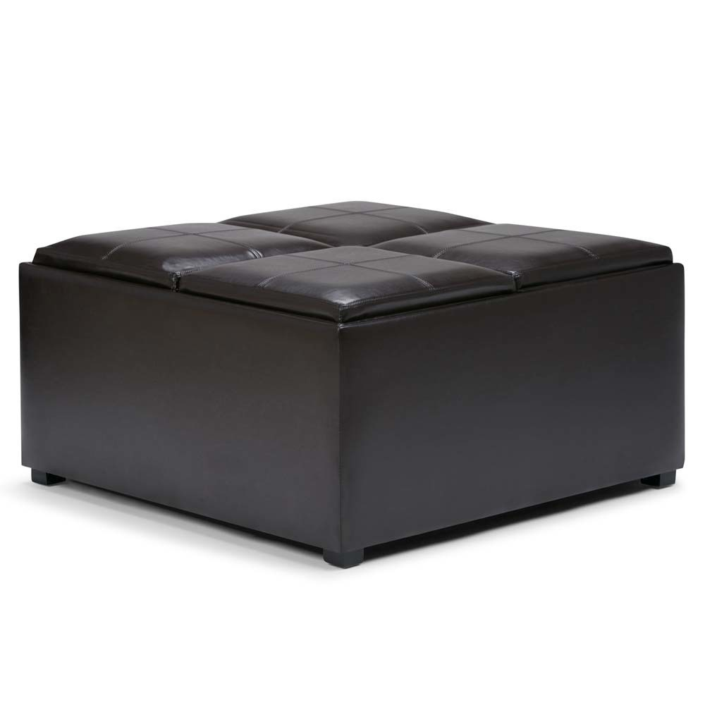 Franklin Square Coffee Table Storage Ottoman Tanners Brown - WyndenHall from WyndenHall