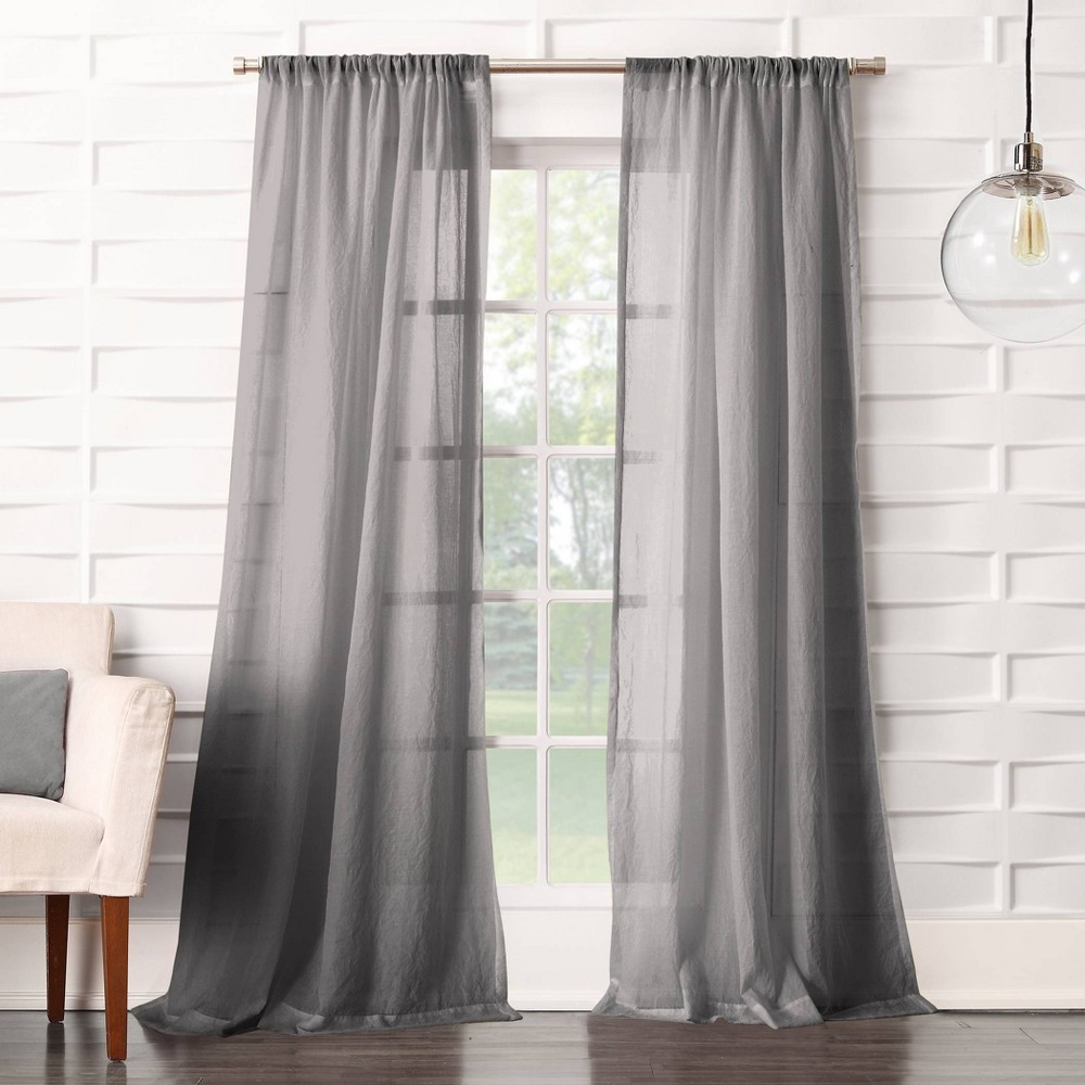 "63""x50"" Avril Crushed Sheer Rod Pocket Curtain Panel Gray - No. 918"