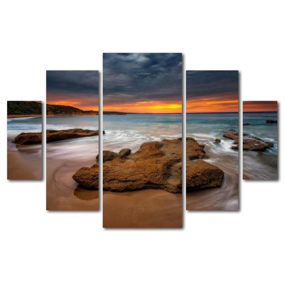 5pc Beach at Sunset 5 by Lincoln Harrison - Trademark Fine Art from Trademark Global