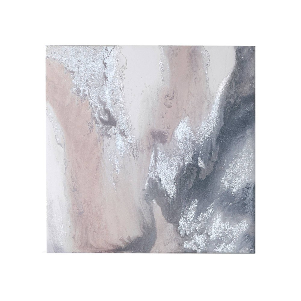 "27"" x 27"" Blissful Gel Coat Canvas with Silver Foil Embellishment Blush from No Brand"