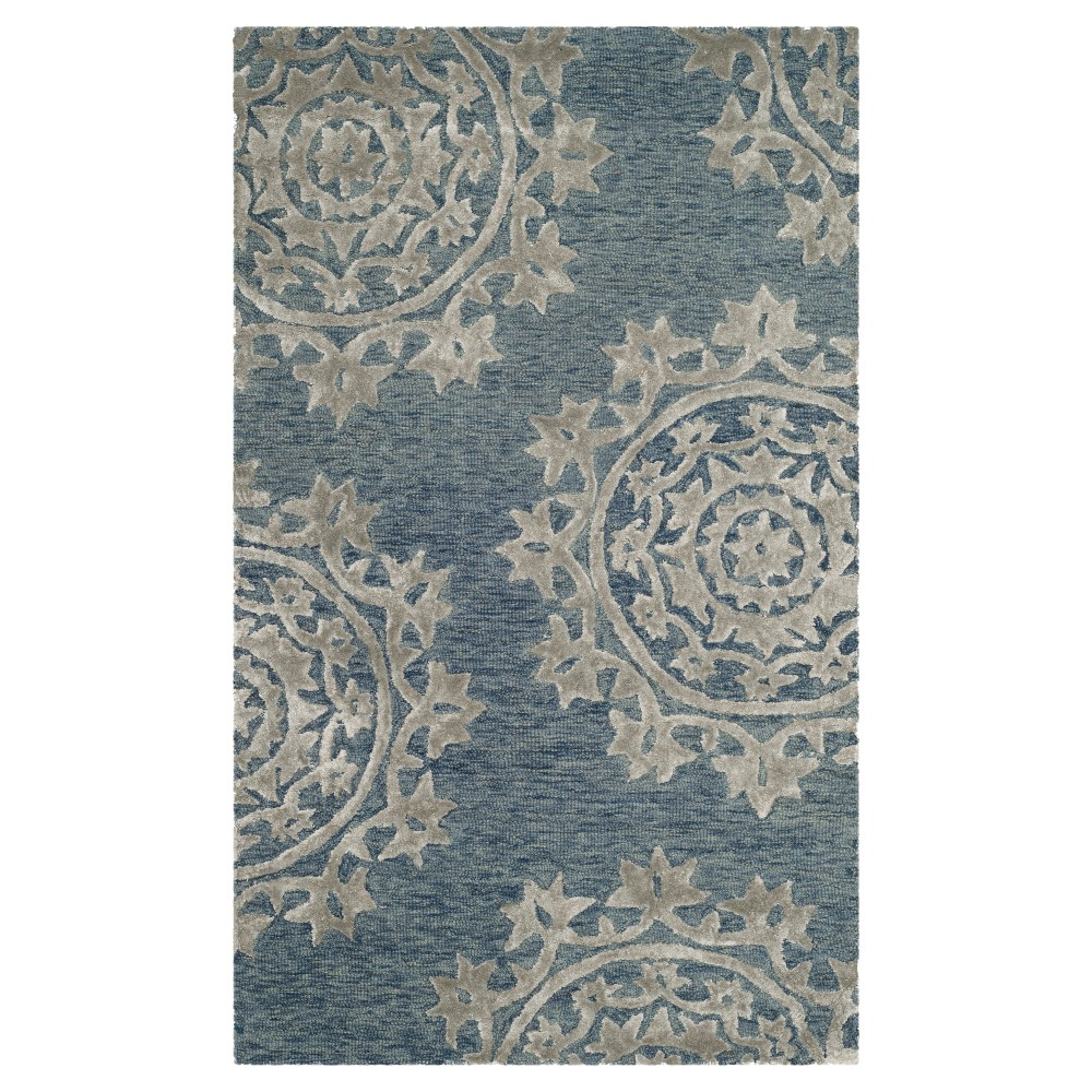 Blue Floral Tufted Accent Rug 3'X5' - Safavieh