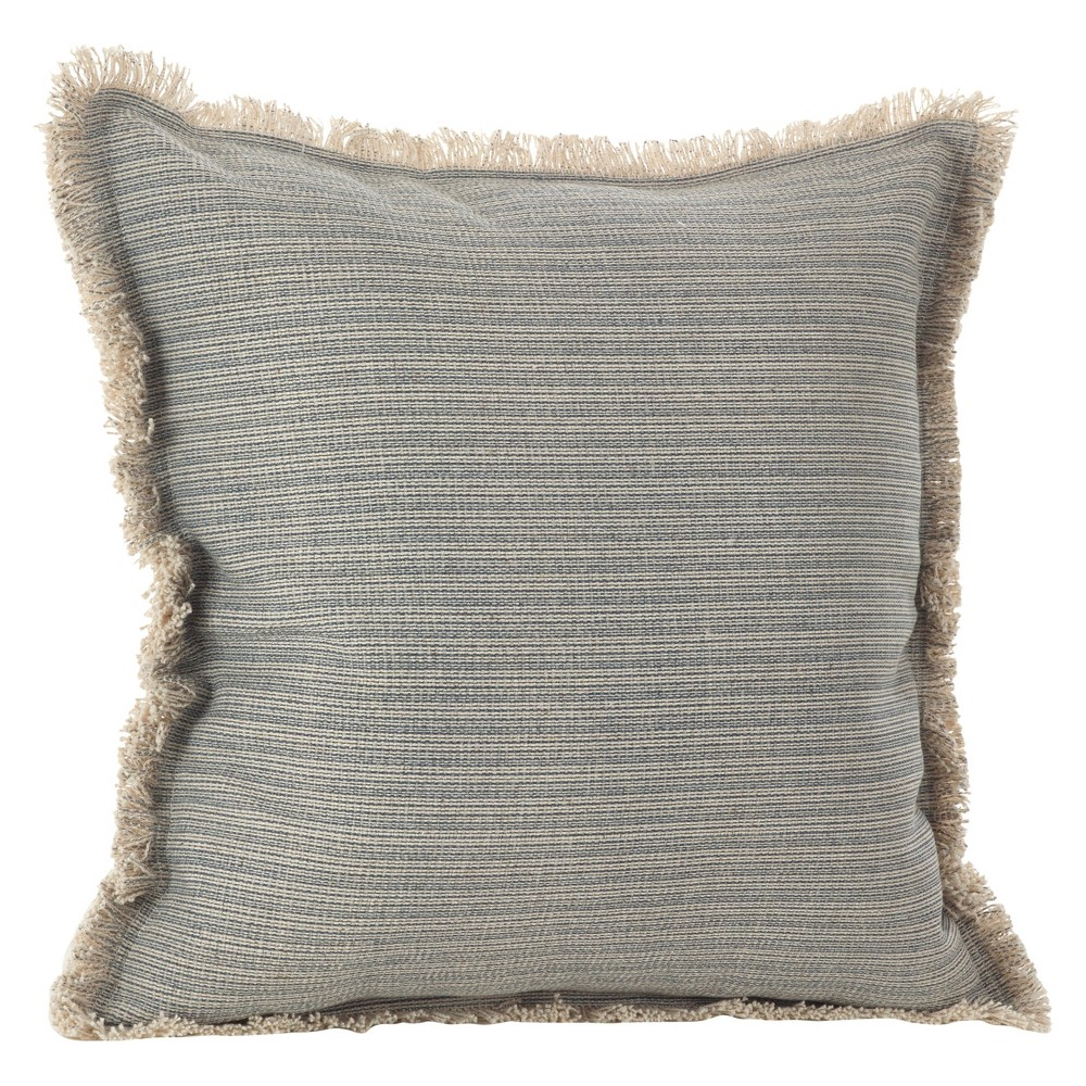 "20""x20"" Canberra Fringed Moroccan Throw Pillow Blue/Gray - Saro Lifestyle from Saro Lifestyle"