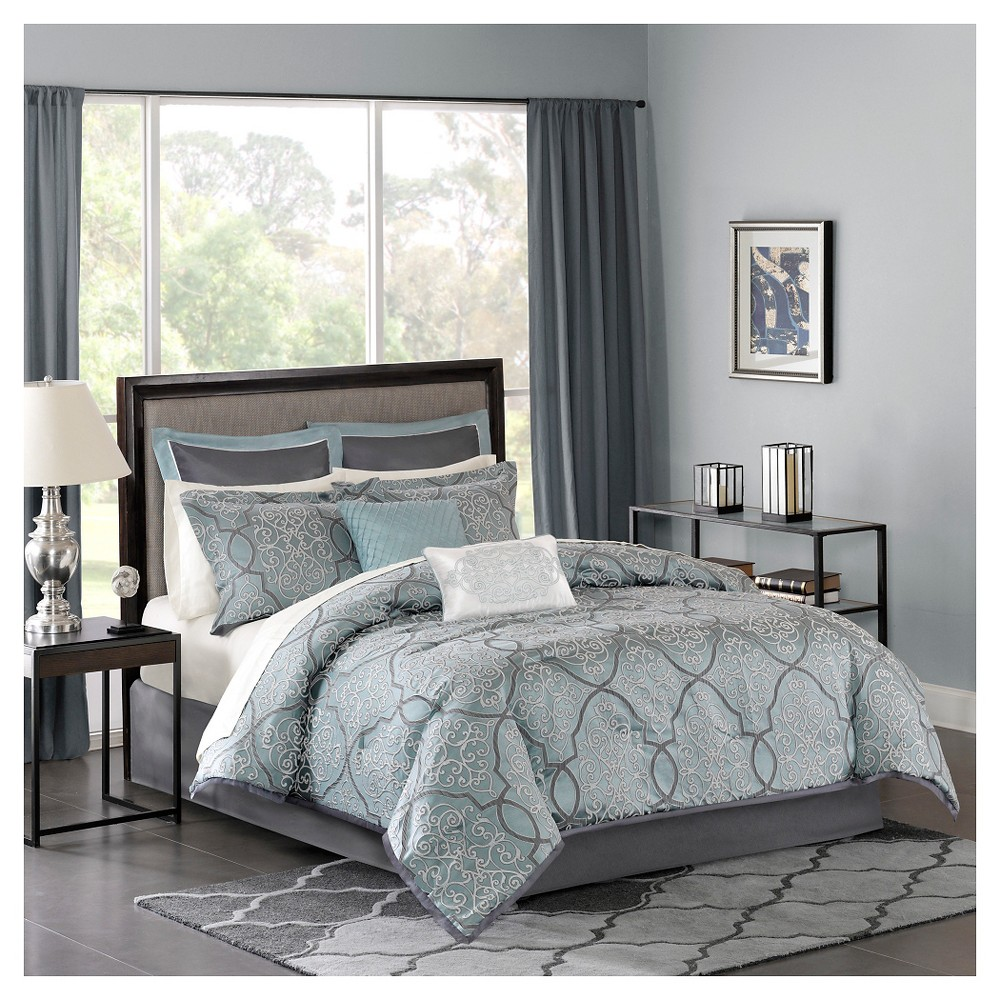 Blue Octavia Jacquard Complete Multiple Piece Comforter Set (California King) - 12 Piece from No Brand