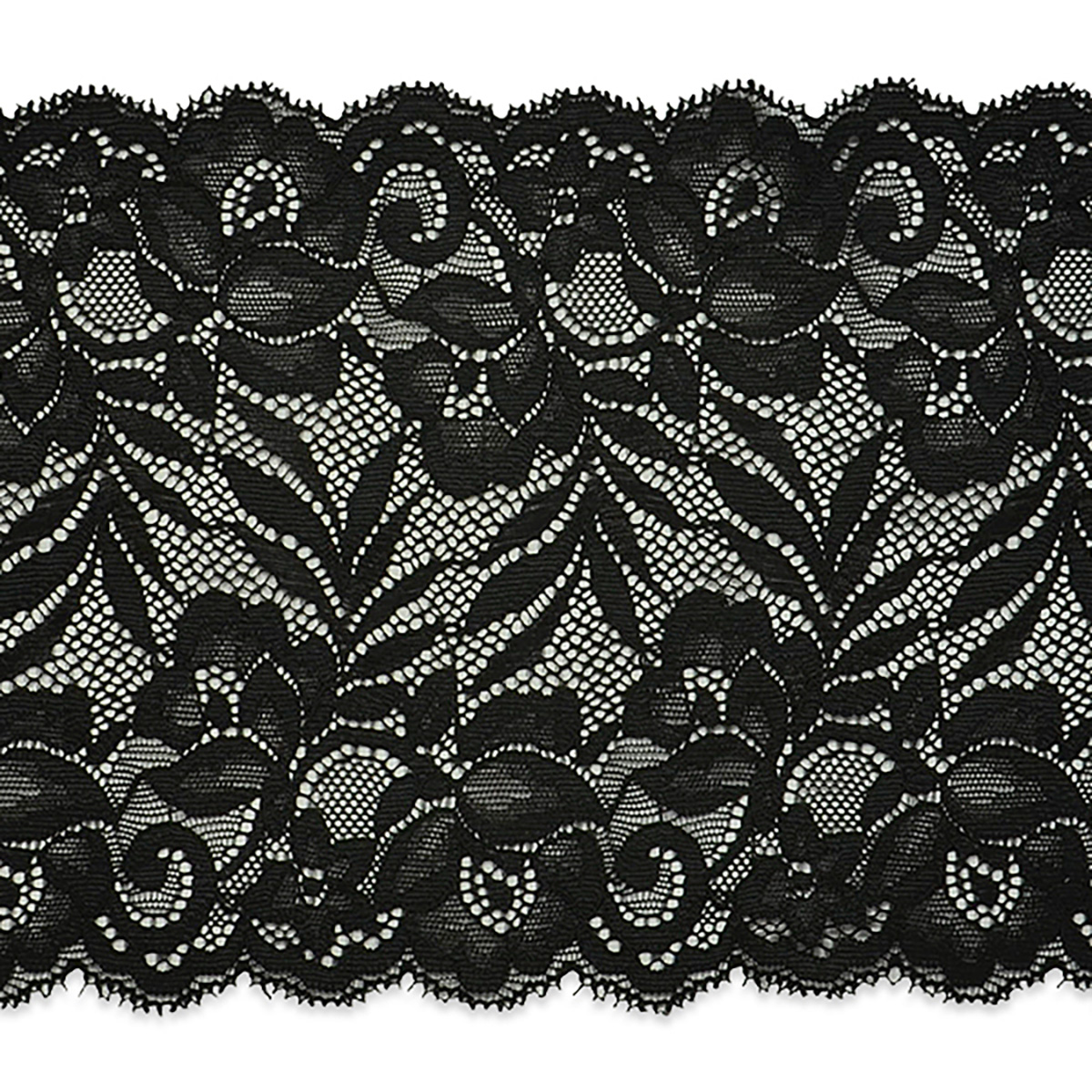 Brea 5 1/2'' Stretch Raschel Lace Trim Black (Precut 10 Yard)