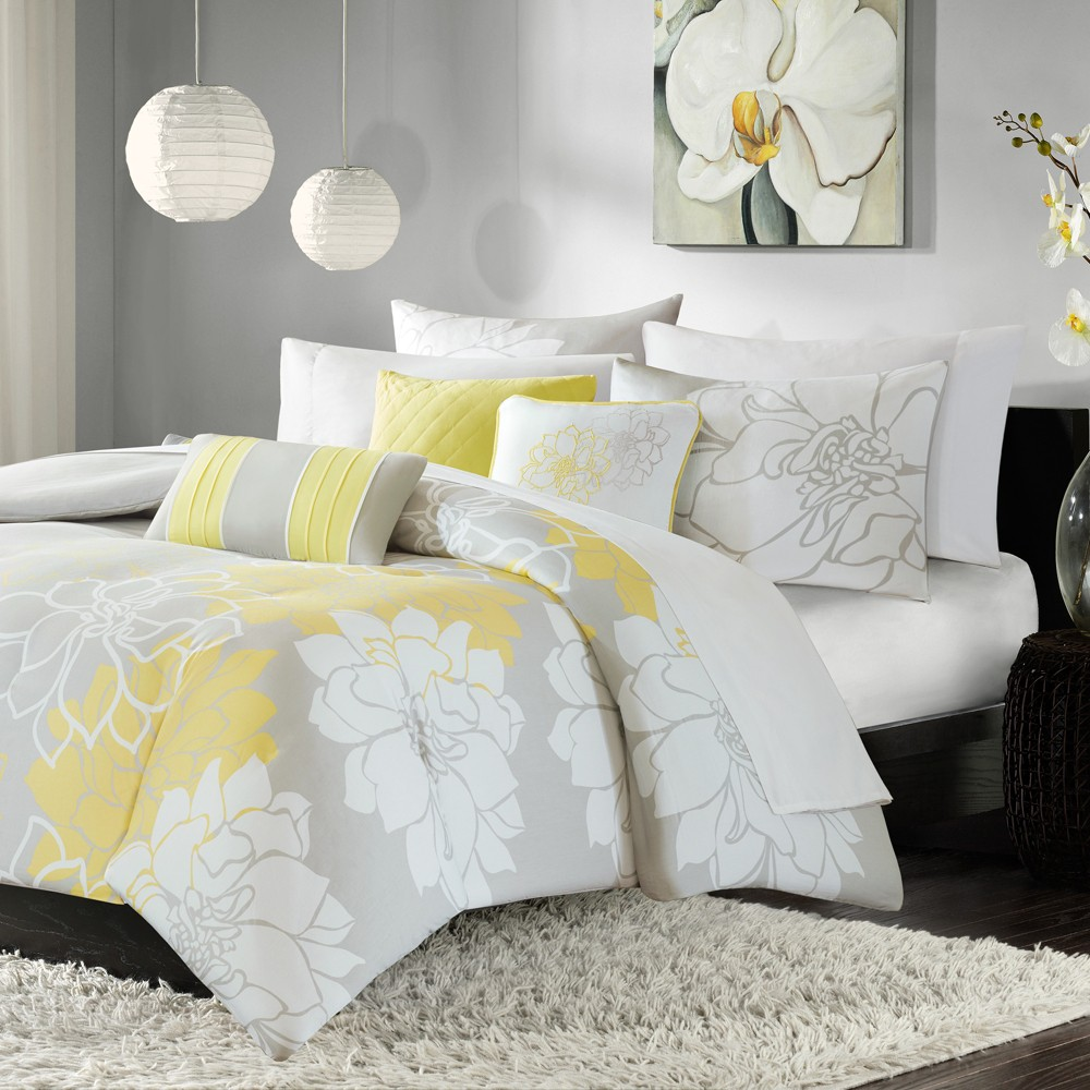 Yellow/Gray Brianna Printed Duvet Set King 6pc