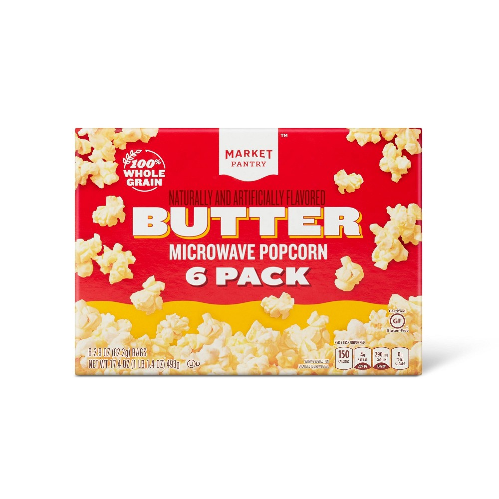 Butter Microwave Popcorn - 6ct - Market Pantry from Market Pantry