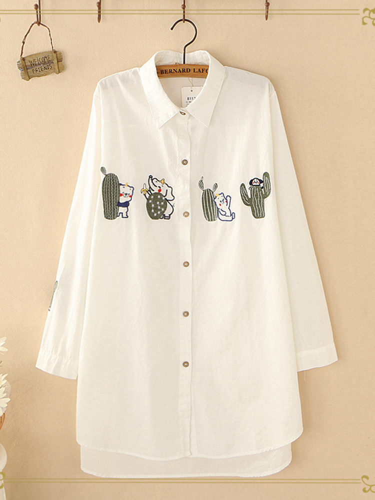Cactus And Cartoon Embroidery Casual Long Sleeve Shirt