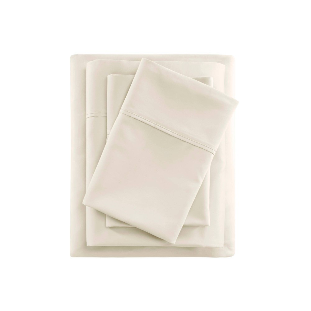 California King 600 Thread Count Cooling Cotton Sheet Set Ivory from Beautyrest