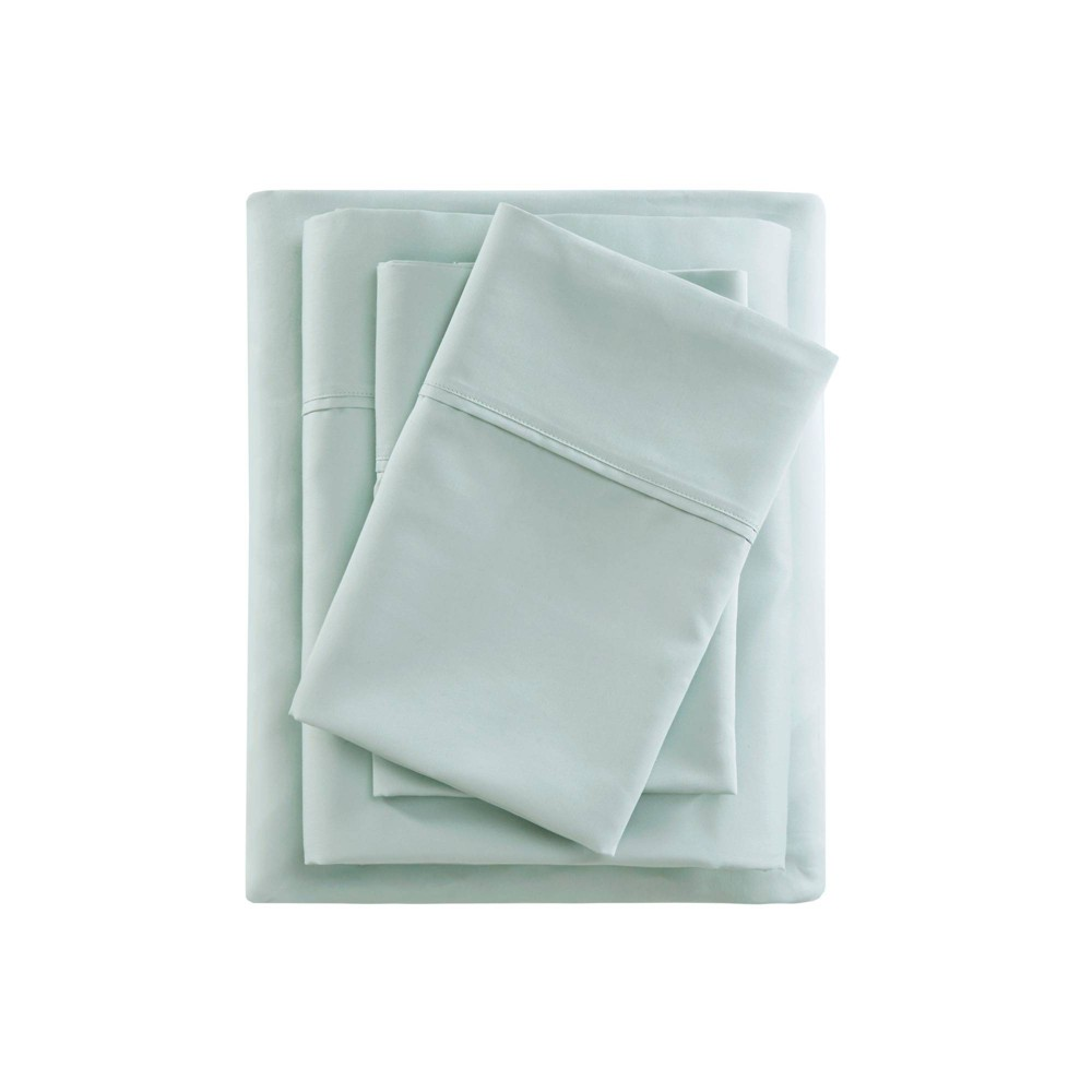 California King 600 Thread Count Cooling Cotton Sheet Set Seafoam from Beautyrest