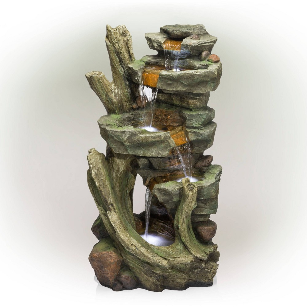 Cascading Stone Tower Fountain With Cool White LED Lights - Alpine Corporation from Alpine Corporation