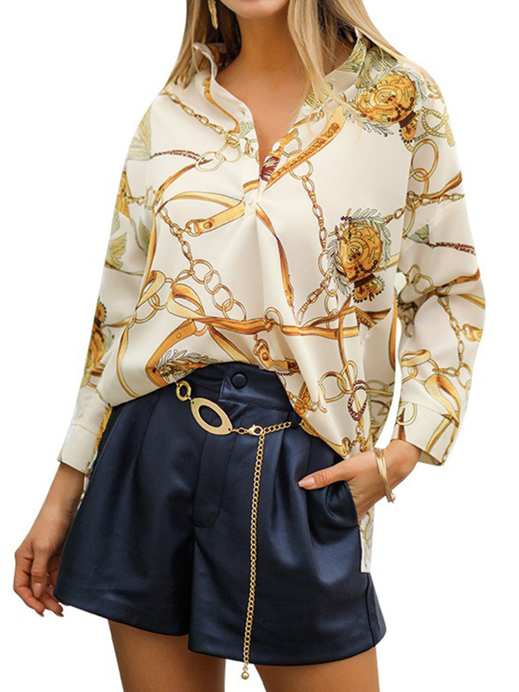 Casual Chain Print Long Sleeve V-neck Pullover Shirt