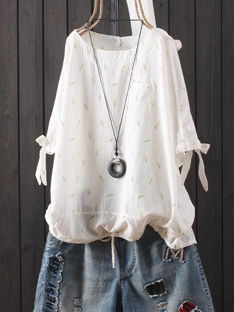 Casual Floral Embroidery Lace-up Short Sleeve Loose Shirt