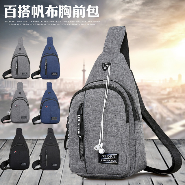Casual Men's Chest Bag Sports Canvas Men's Bag Small Bag Multi-function Outdoor Small Bag Tide