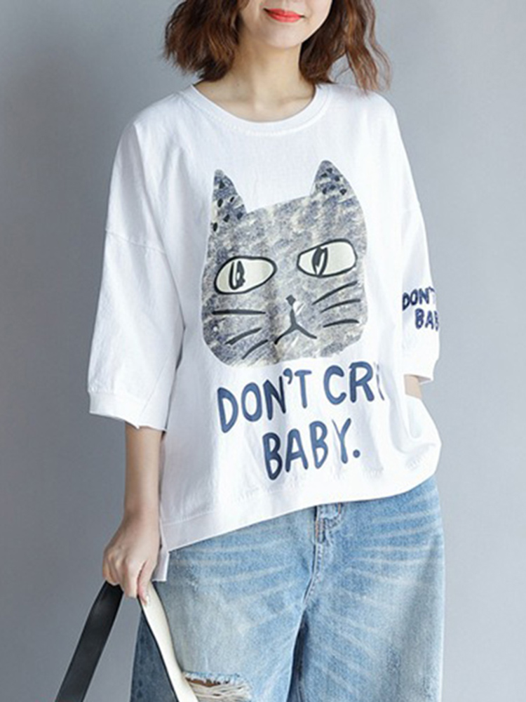 Cat And Letters Print 3/4 Sleeve Pullover Shirt