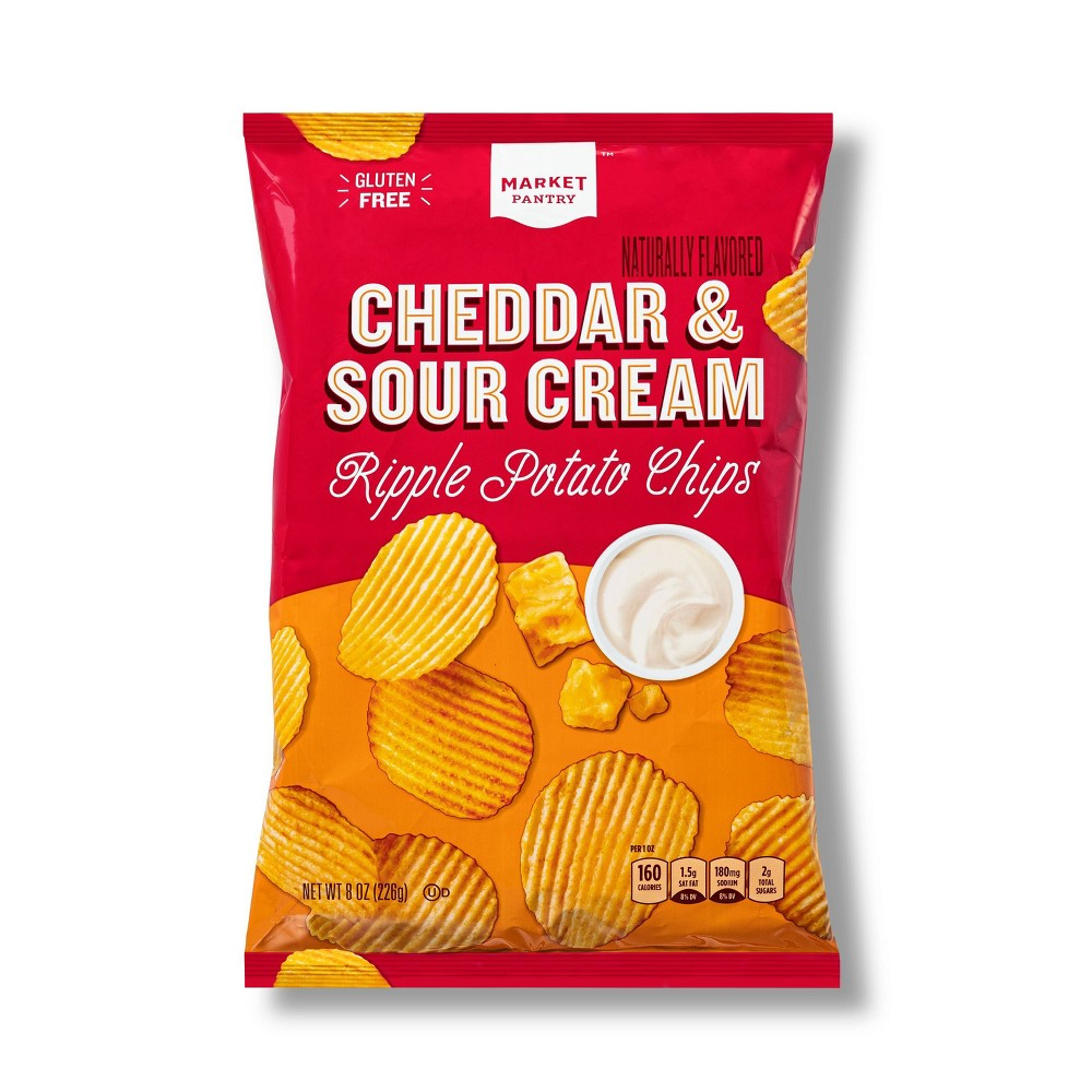 Cheddar and Sour Cream Ripple Potato Chips - 8oz - Market Pantry from Market Pantry