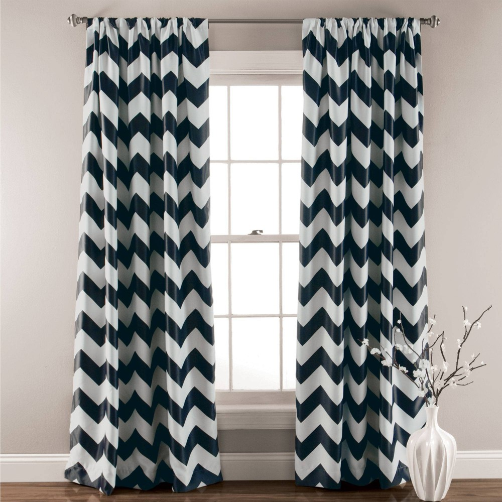 Chevron Blackout Curtain Panels Black - Triangle Home Fashions