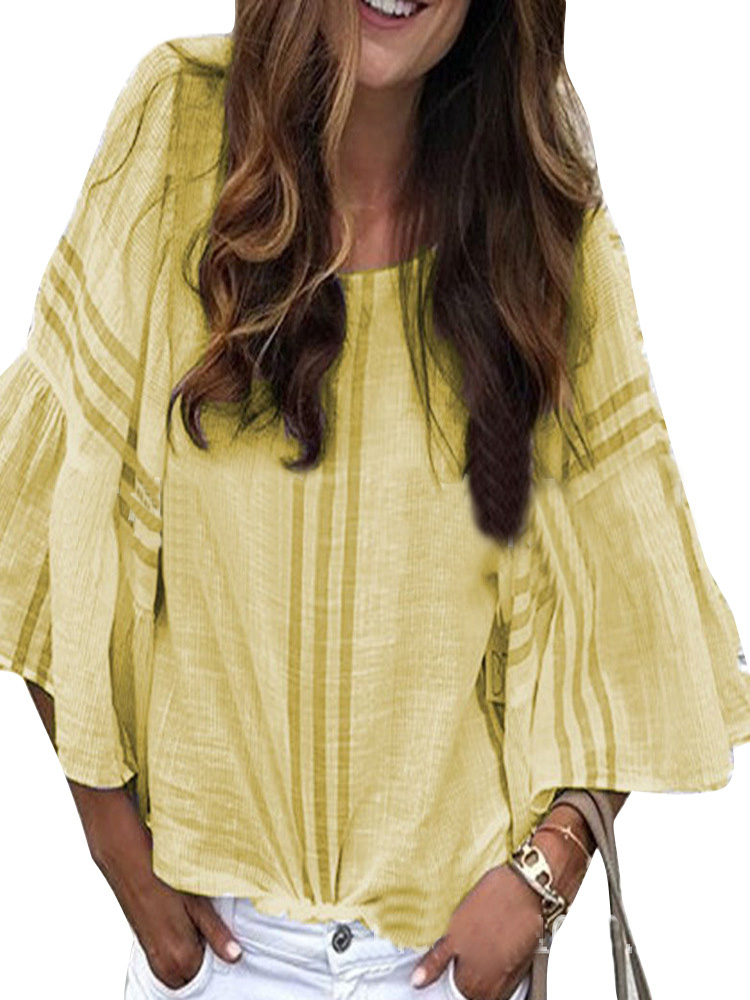 Chic Striped Flared Sleeve Crew Neck Overhead Shirt