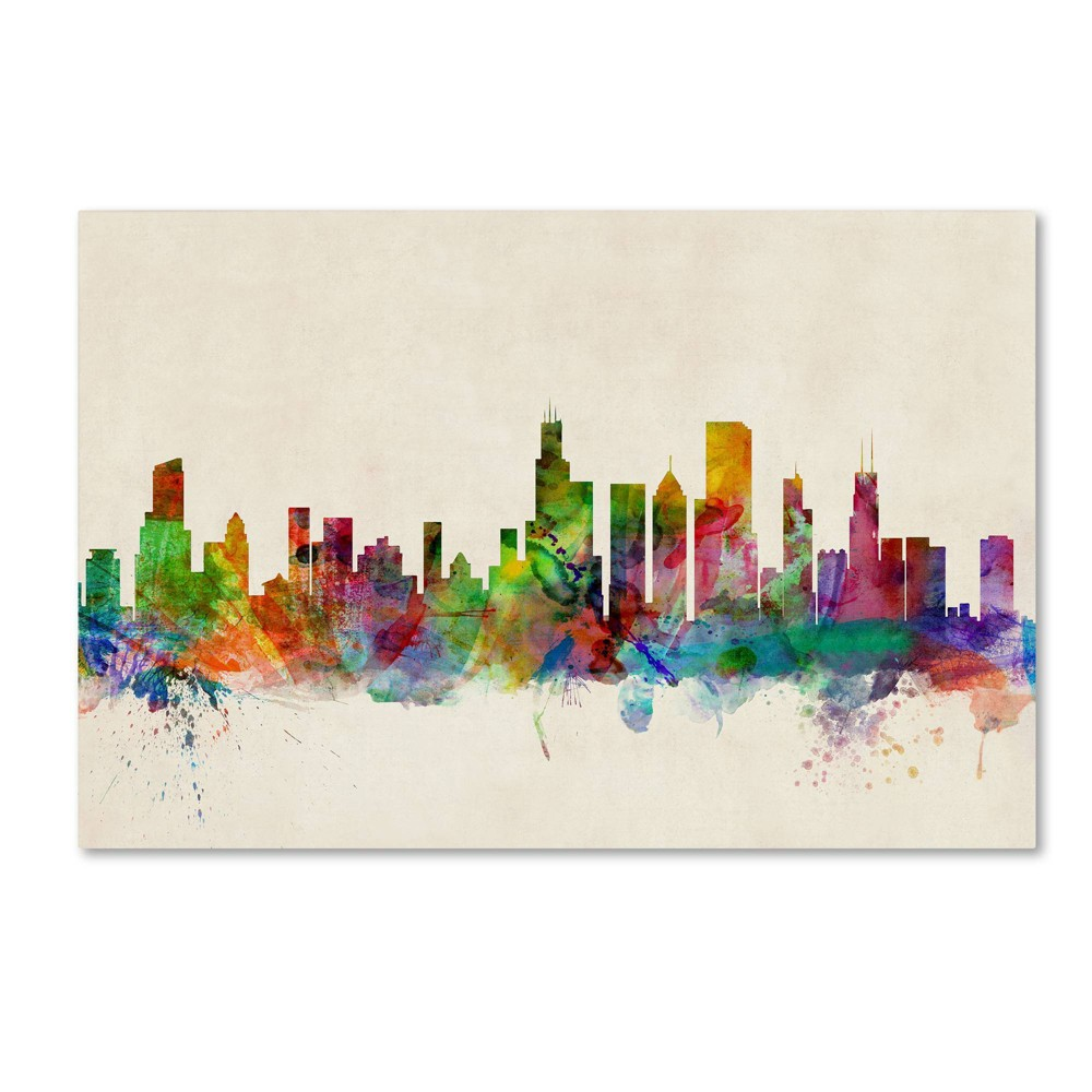 "22"" x 32"" Chicago Illinois by Michael Tompsett - Trademark Fine Art from Trademark Global"