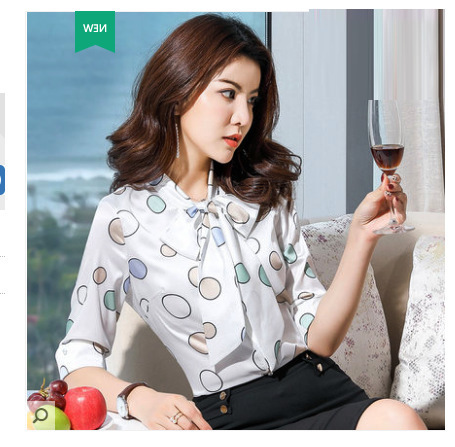 Chiffon Printed Shirt Women's New Ladies Wild Bows, Foreign Style, Very Popular Shirt, Small Shirt Tide