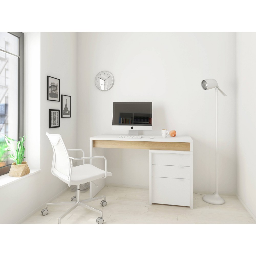 2pc Chrono Home Office Set with File Cabinet White/Natural Maple - Nexera from Nexera