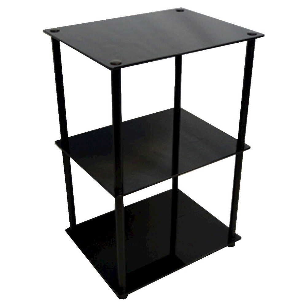 Classic Glass Tall 3 Tier End Table Black Glass - Breighton Home from Breighton Home
