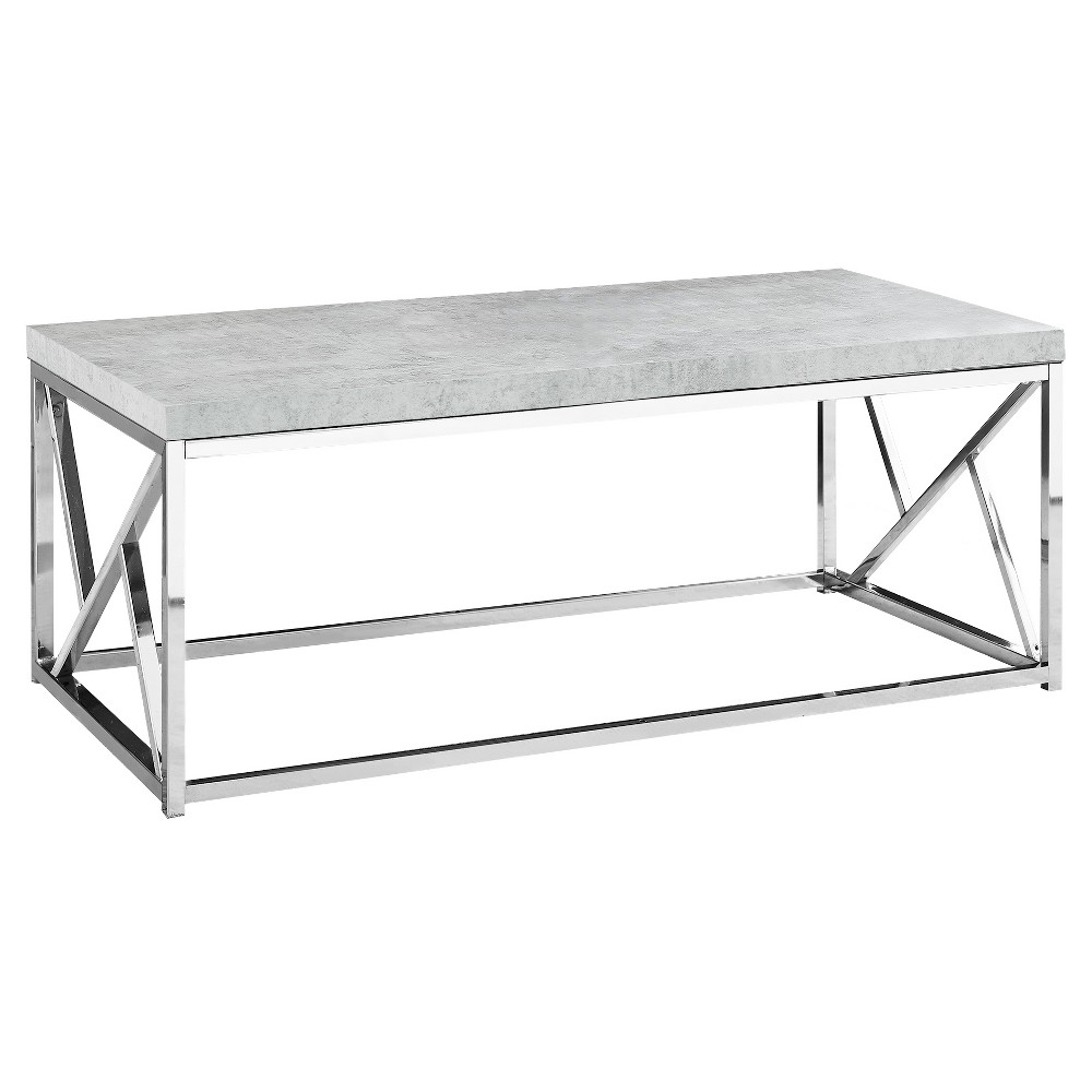 Coffee Table - Chrome Metal, Gray Cement - EveryRoom from EveryRoom