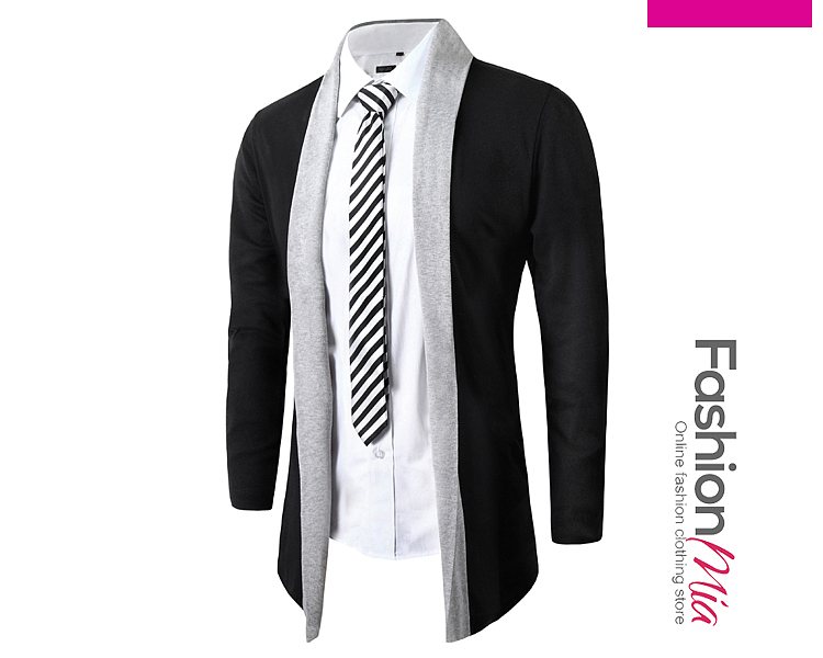 Color Block Lapel Men Cardigan