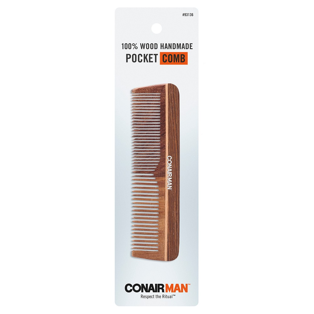 Conair Man Hand Cut 100% Wooden Pocket Comb from Conair