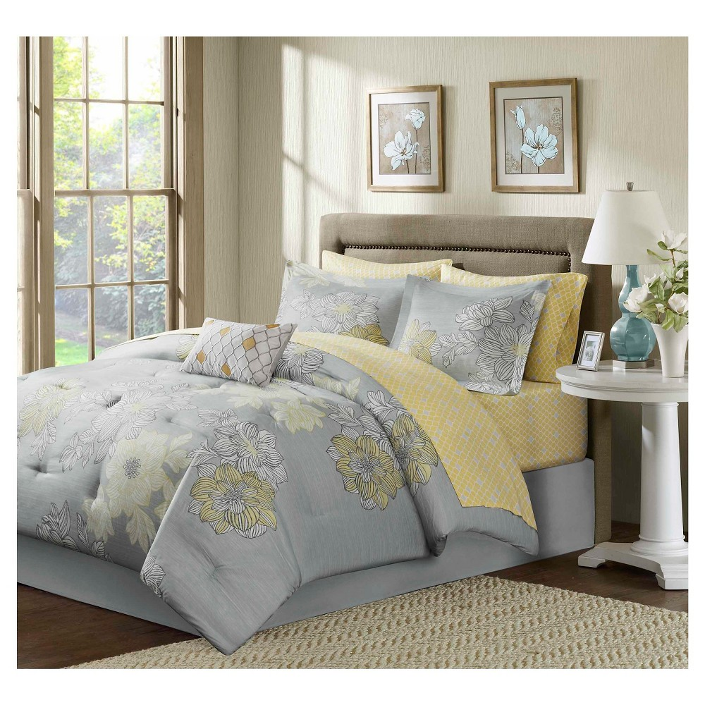 Cornell Floral Comforter and Sheet Set Gray - 9-Piece from No Brand