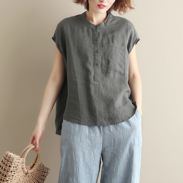 Cotton And Linen  Pure Color  O-neck Casual  Tank Tops