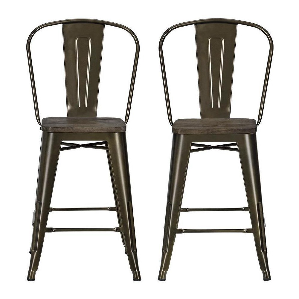 Luxor 24 Metal Counter Stool with Wood Seat (Set of 2) - Antique Bronze - Dorel Home Products