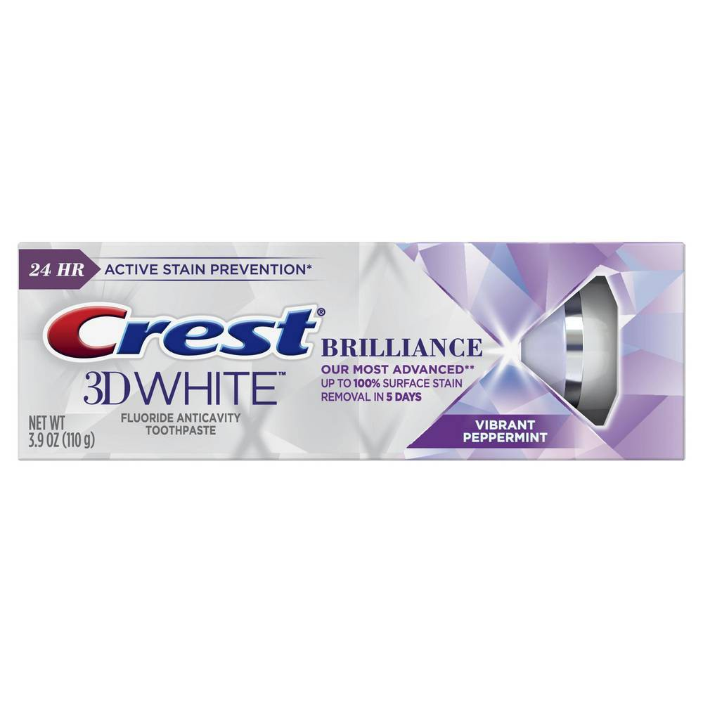 Crest 3D White Brilliance Teeth Whitening Toothpaste Vibrant Peppermint Toothpaste - 3.9oz from Crest